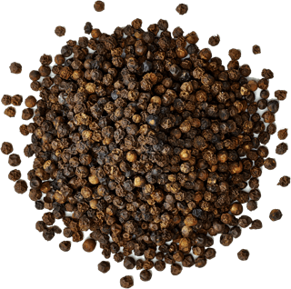 A photo of a small pile of black peppercorns.